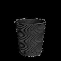 """Стакан бумажный гофрированный Double Black 250мл (евро) 30шт (1ящ/28уп//840шт) (""""РОМБ"""" 81/КВ81)"""