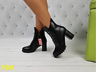 Ботинки зима на удобном невысоком каблуке, фото 1