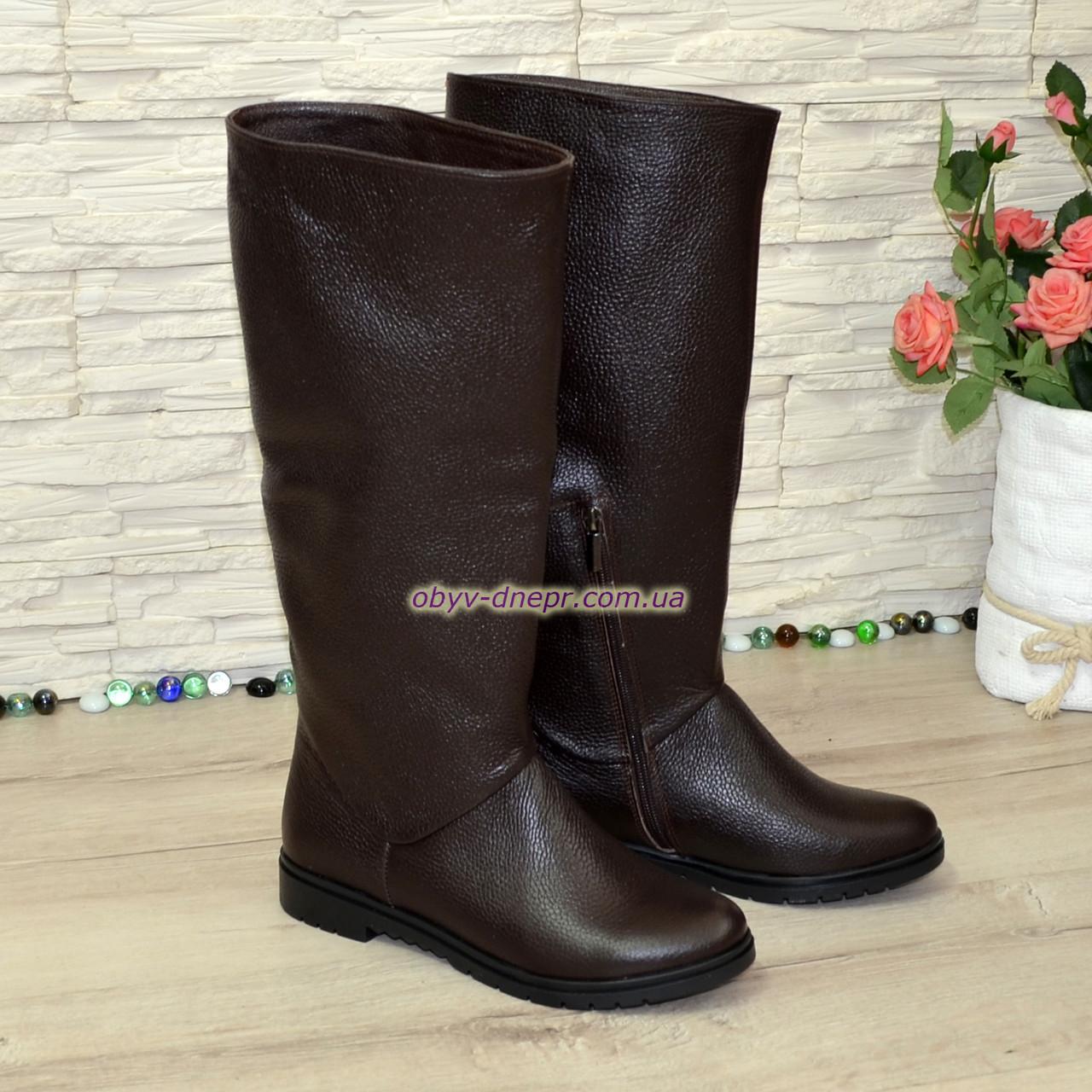 75a29650a Сапоги-трубы женские кожаные демисезонные коричневого цвета -  Интернет-магазин