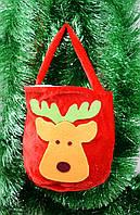 Сумка красная Новый Год/Олени-Подарочный мешочек с ручками, фото 1