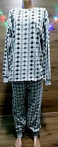 Теплая мужская пижама с начесом принт ромбики 50-60 р, мужские теплые пижамы оптом от производителя