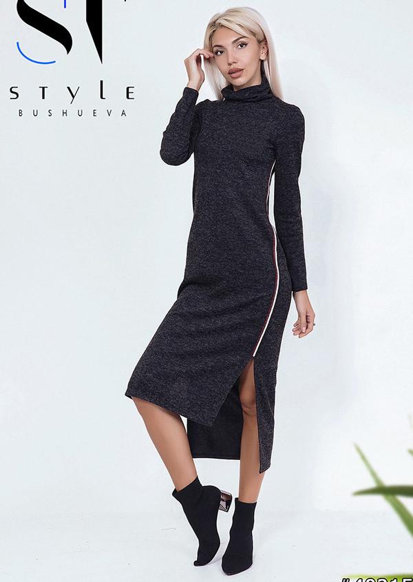 b75b2be7023 Купить Стильное асимметричное платье миди из ангоры с лампасами в ...