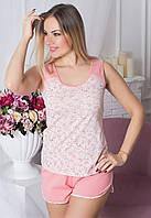 Пижама женская с шортами трикотажная хлопок, домашний комплект