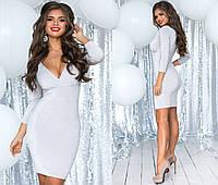 Женское праздничное мерцающее мини платье с красивым декольте (люрекс на трикотажной основе), фото 1
