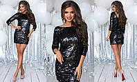 Женское праздничное мерцающее мини платье с пайеткой (крупная пайетка+подклада трикотаж) 3 цвета, фото 1