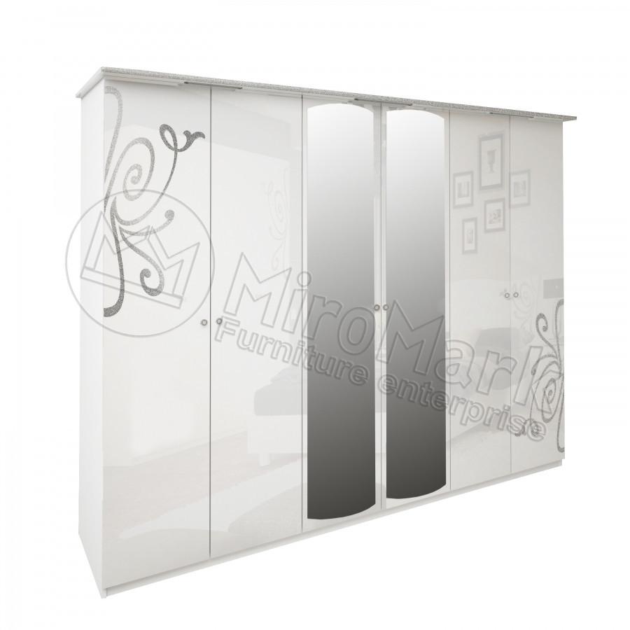 """Шафа 6д """"Богема"""" з дзеркалом від Миро-Марк (білий глянець)."""