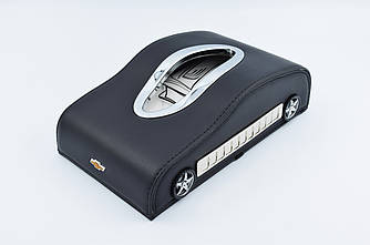Салфетница Chevrolet шкіряна в автомобіль з логотипом і місцем для номера телефону Black шевроле подарункова
