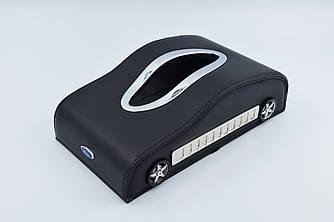 Салфетница Ford шкіряна в автомобіль з логотипом і місцем для номера телефону Black Форд подарункова
