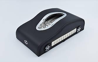 Салфетница Lexus шкіряна в автомобіль з логотипом і місцем для номера телефону Black Лексус подарункова