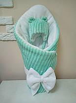 Конверт-одеяло для новорожденных на выписку с минки/флис  80*100 см Бело-зеленый
