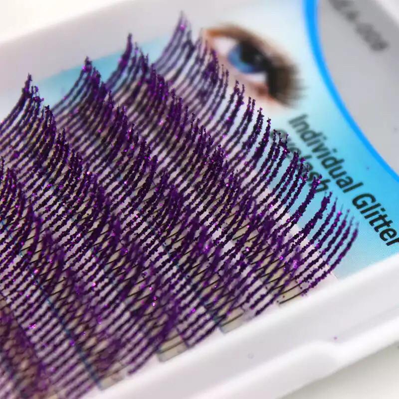 Ресницы с блестками, фиолетовые