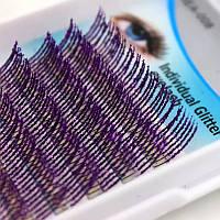 Ресницы с блестками, фиолетовые, фото 1