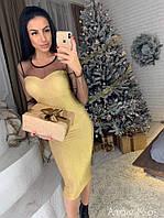 Роскошное женское платье-футляр (люрекс на дайвинге, сетка, длина миди, длинные рукава) РАЗНЫЕ ЦВЕТА!, фото 1