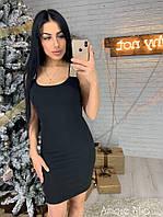 Элегантное женское платье-футляр (креп дайвинг, декор камни, без рукавов, открытые плечи, широкие бретельки), фото 1