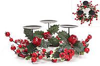 """Подсвечник """"Изобилие""""на три свечи с декором из веток, гранатов и красных ягод, 35 см"""