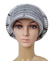 Берет с козырьком ( кепка ) женский вязаный Кира шерсть натуральная цвет серый, фото 1