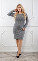 Женское приталенное платье по колено Батал, фото 1