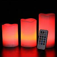 Восковых свечей 3 штук многоцветных с пультом ДУ
