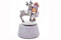 Декоративная музыкальная фигрука Девочка с оленем, 18 см