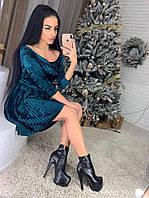Модное женское платье (мраморный велюр, плиссе, клеш, длина мини, открытые плечи) РАЗНЫЕ ЦВЕТА!, фото 1