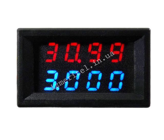 Цифровой вольтамперметр DC 0-33V 3A (red-blue) (0068)