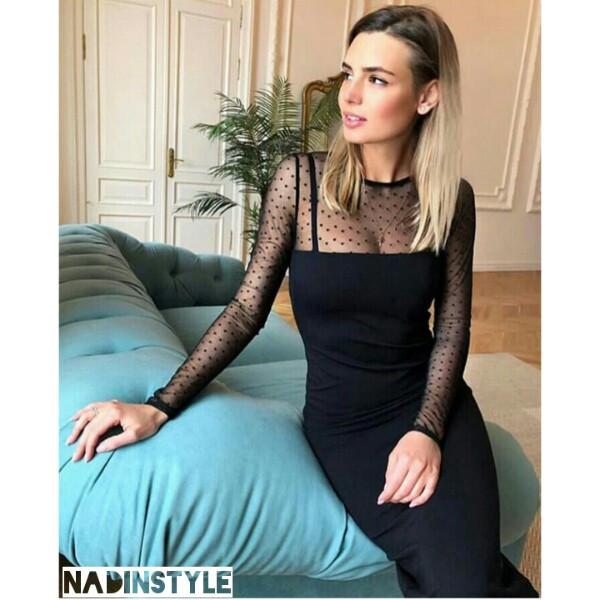 67d84c94a6d Черное платье длины миди с отделкой из сетки в горошек - Интернет-магазин  одежды и