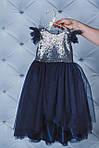 Нарядное платье с пайетками и вырезом на спинке Темно-синее, фото 3