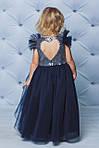 Нарядное платье с пайетками и вырезом на спинке Темно-синее, фото 2