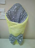 Конверт-одеяло для новорожденных на выписку с минки 80*100 см серо-желтый