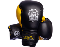 Боксерские перчатки Powerplay 3002 Eagle черно-желтые, фото 1