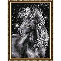 Набор алмазной живописи (квадратные, полная) Конь черный. Art Solo.