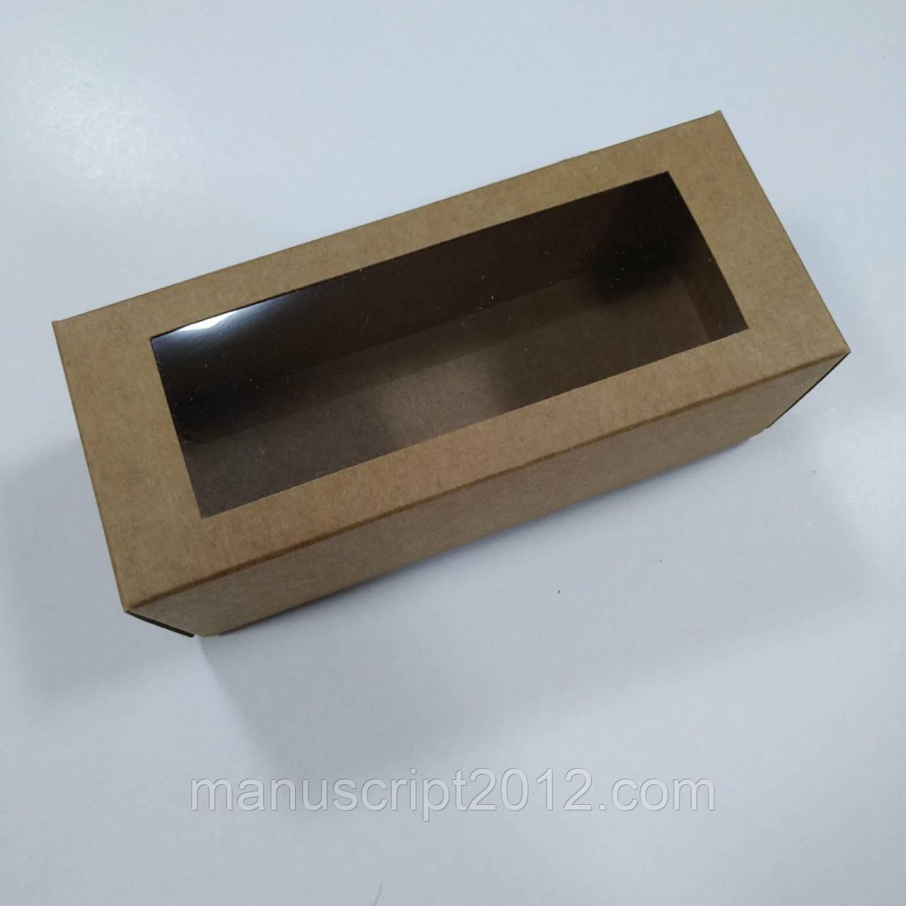 Коробка для макарун  крафт с окном