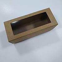 Коробка для макарун  крафт с окном, фото 1
