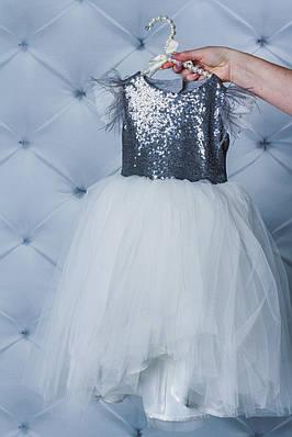 Нарядне плаття для дівчинки з паєтками Біле