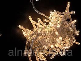 Гирлянда прозрачная LED 100 теплый белый