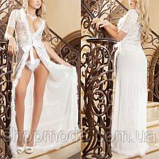 Халат с пуховым ободком Прозрачный длинный халат, фото 3