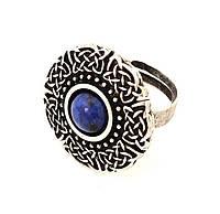 Кольцо Оранта серебристое с синим камнем