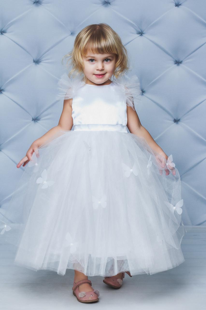 Нарядное атласное платье с бабочками Белое
