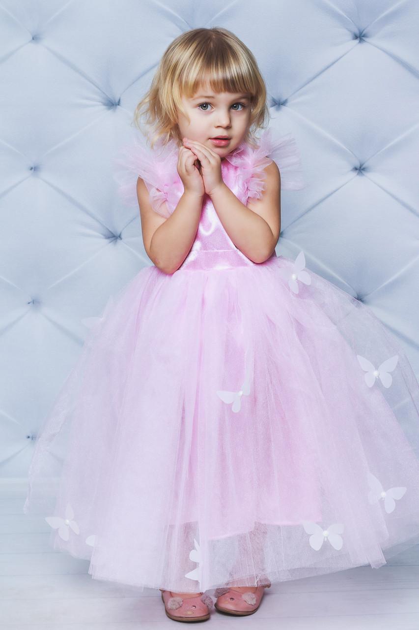Нарядное атласное платье с бабочками Розовое