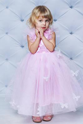 Ошатне атласну сукню з метеликами Рожеве