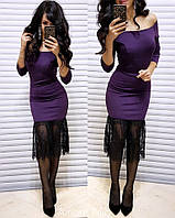 Восхитительное женское платье-футляр (джерси, французское кружево, рукава 3/4, открытые плечи) РАЗНЫЕ ЦВЕТА!, фото 1