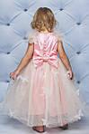 Нарядное атласное платье с бабочками персик, фото 2