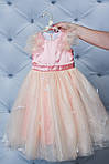 Нарядное атласное платье с бабочками персик, фото 3