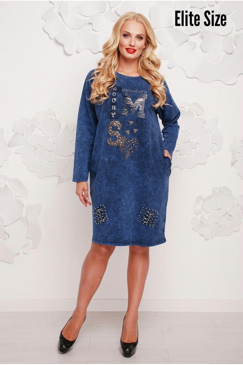 a31d5c5c54e Женское платье - варенка большого размера с декором в моделях. Турция.