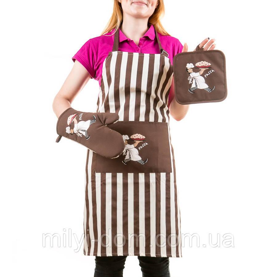 """Набор для кухни :фартук, прихватка, рукавичка """"Пицца"""""""