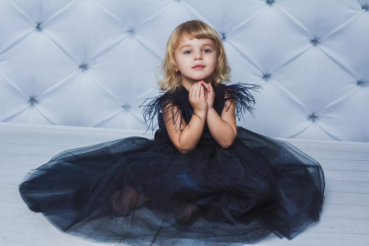 Нарядное велюровое платье с крылышкамиТемно-синее