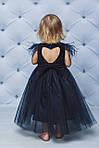 Нарядное велюровое платье с крылышкамиТемно-синее, фото 2