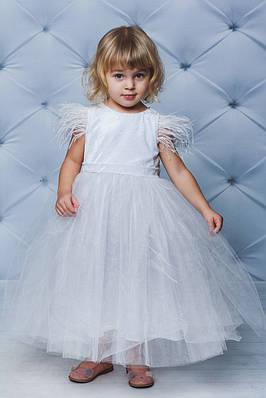Нарядное велюровое платье с крылышками Белое