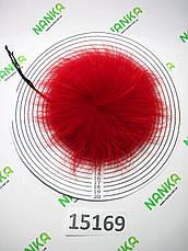 Меховой помпон Енот, Красный, 11/15 см, 15169, фото 2