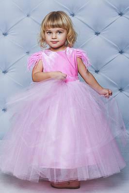 Нарядное велюровое платье с крылышками Розовое